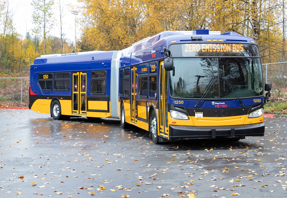 A King County Metro battery-powered bus