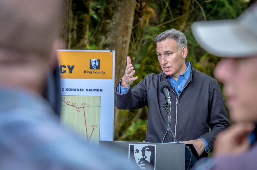 Executive Dow Constantine speaks at a press conference about kokanee salmon.