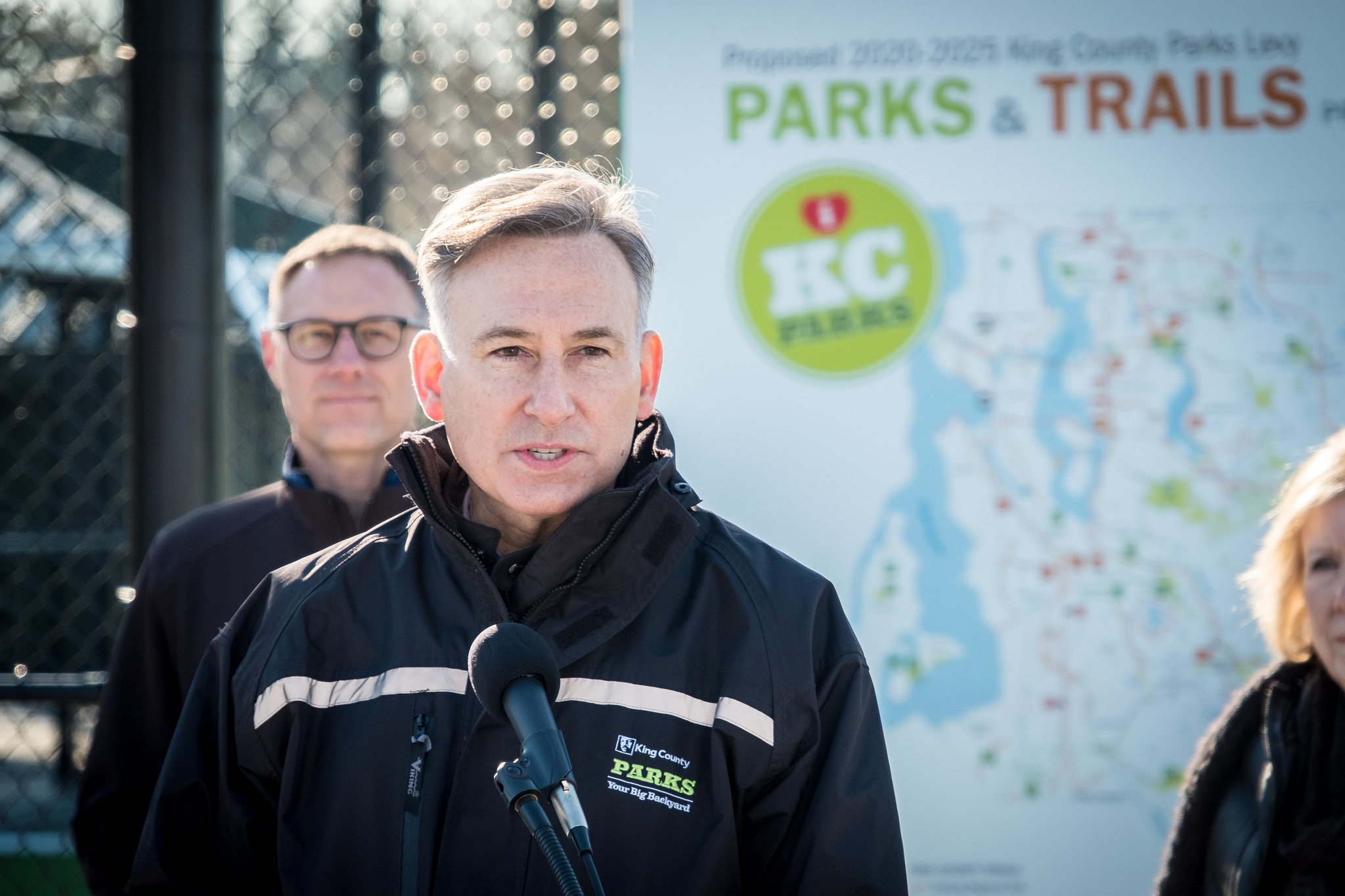 Executive Constantine announces his proposal to renew the King County Parks Levy at Steve Cox Memorial Park in White Center.
