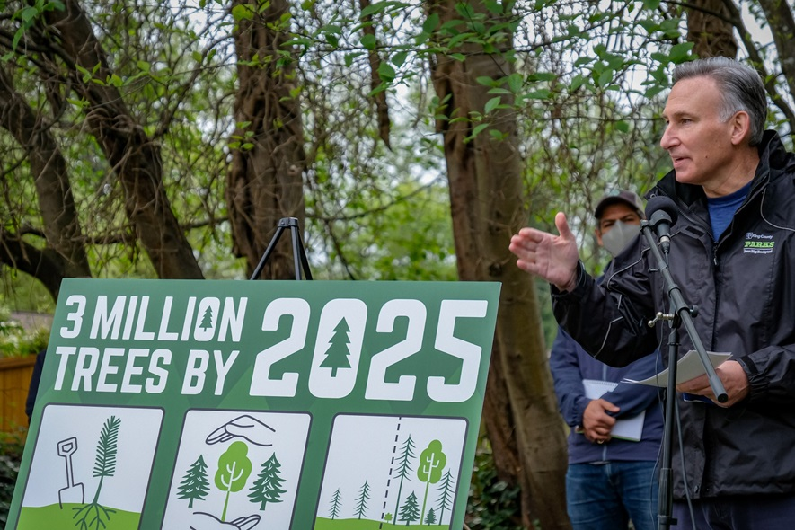 King County Executive Dow Constantine speaking at a 3 Million Trees event.