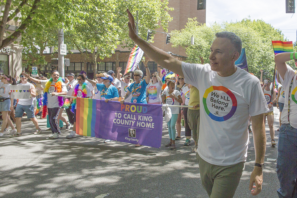Executive Constantine at the 2017 Pride Parade.