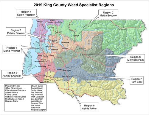 King County Noxious Weed Program Region Map for Seasonal Noxious Weed Specialists