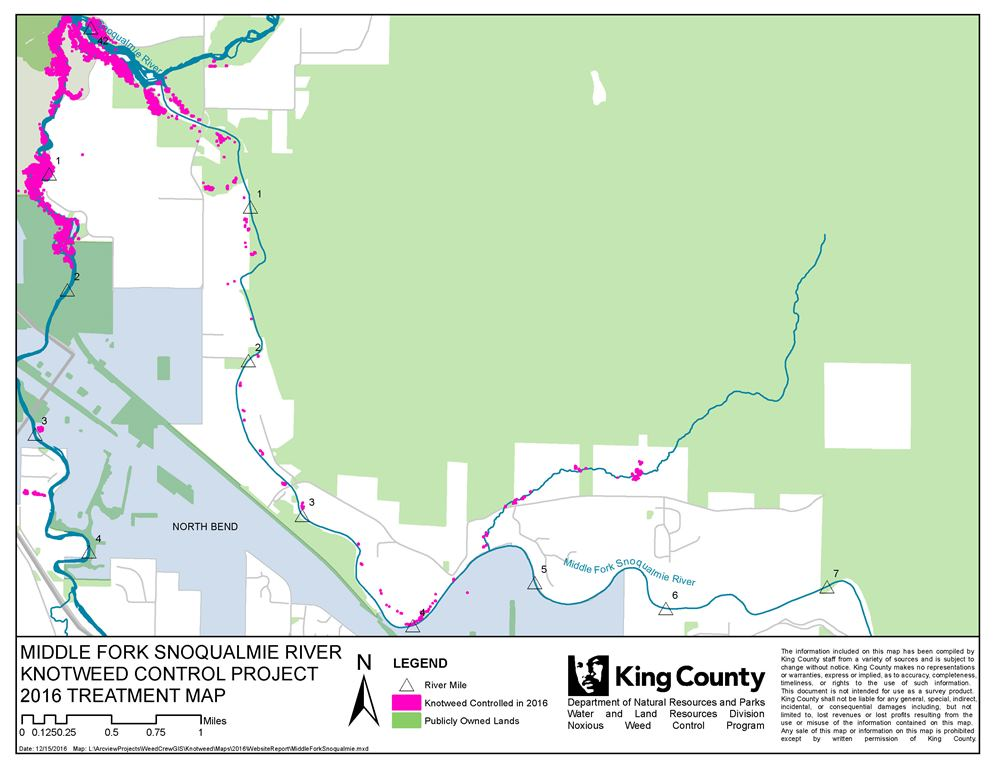 Map of the Middle Fork Snoqualmie River Knotweed Control Project