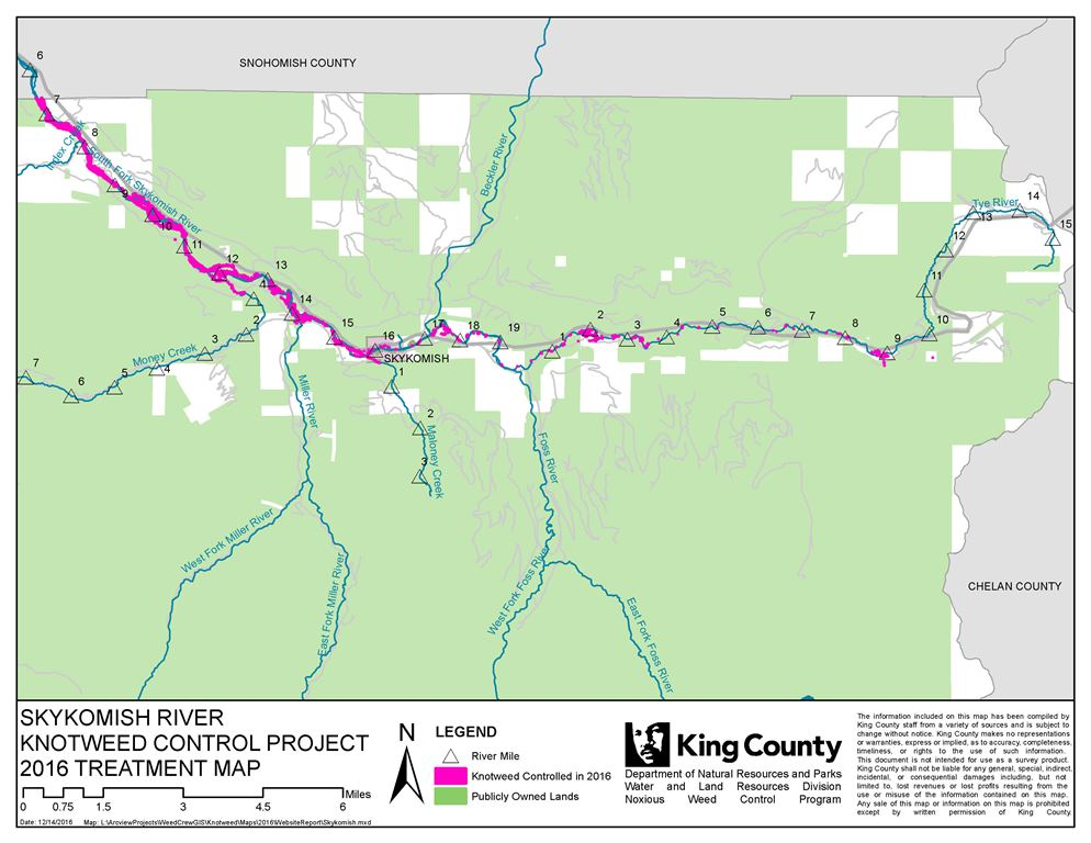 Map of the Skykomish - Tye River Knotweed Control Project in King County, Washington