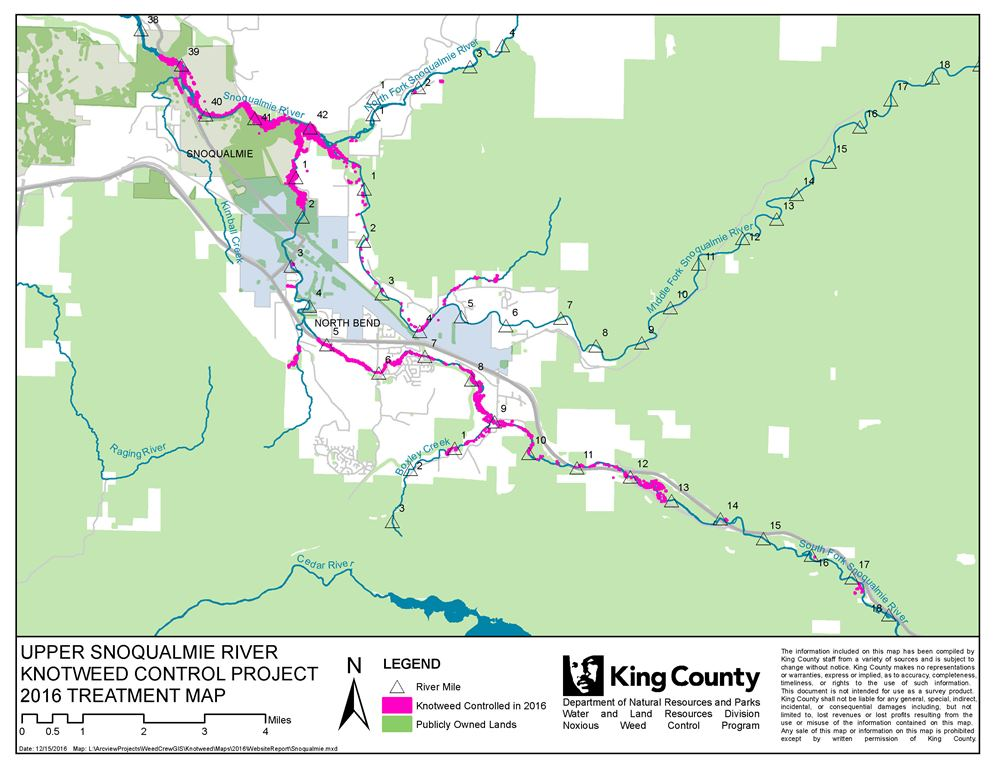 Map of the Upper Snoqualmie River Knotweed Control Project