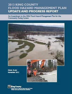 Click this thumbnail image of the cover of the 2013 King County Flood Hazard Management Plan Update to open the document.