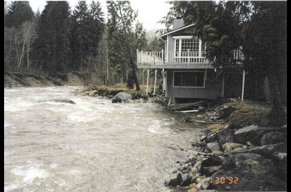 Undermined house along the Raging River