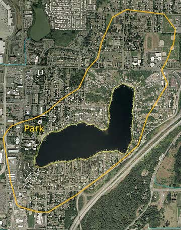 Angle Lake aerial photo map with drainage area