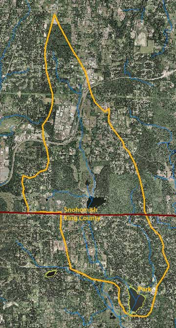 Cottage Lake aerial photo map with drainage area