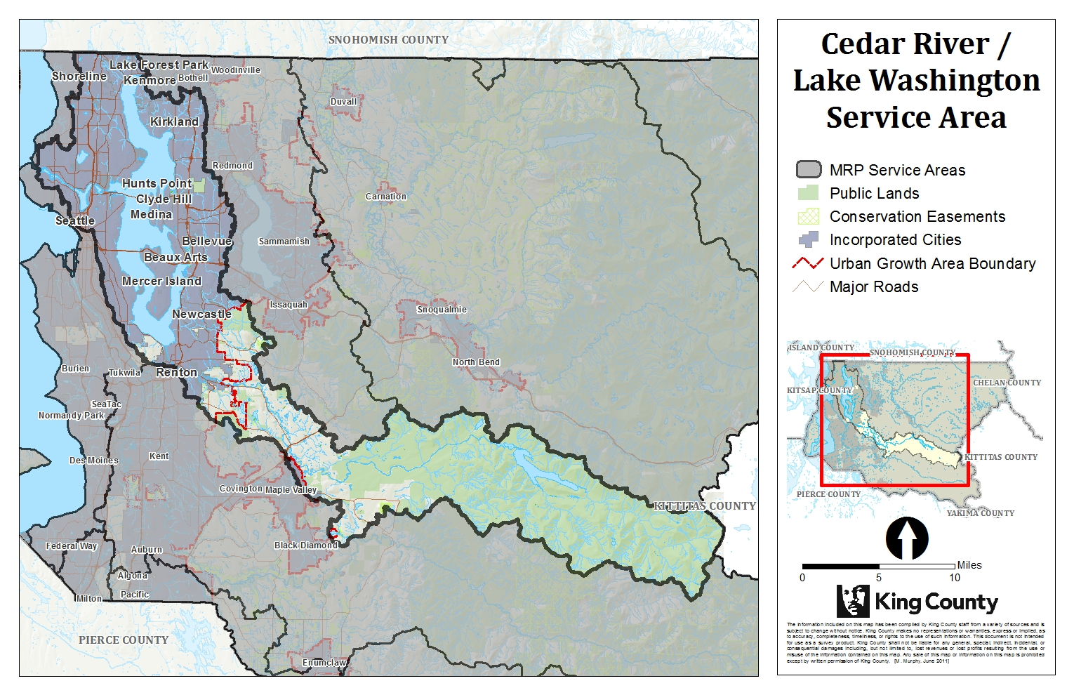 Map of Cedar River Lake Washington Service Area for King County Mitigation Reserves Program