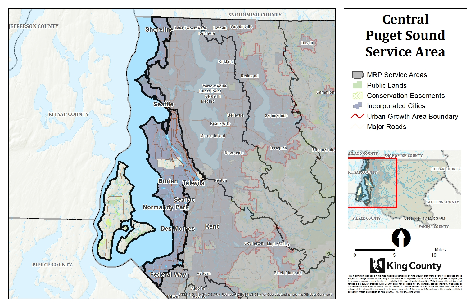 Map of Central Puget Sound Service Area for King County Mitigation Reserves Program