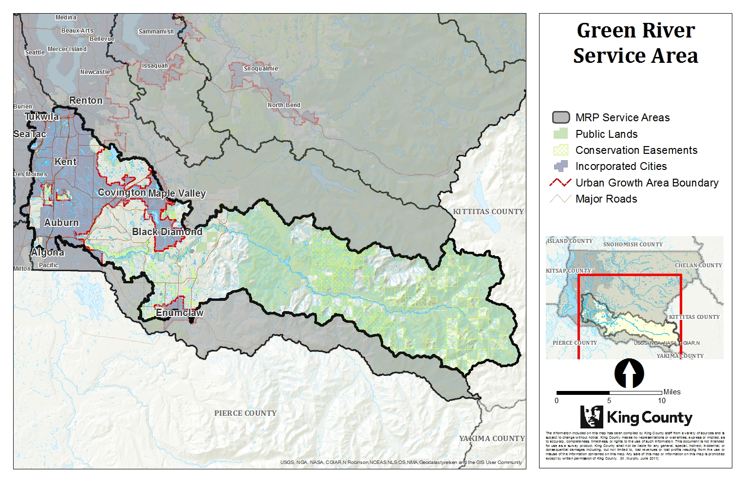Map of Green River Service Area for King County Mitigation Reserves Program