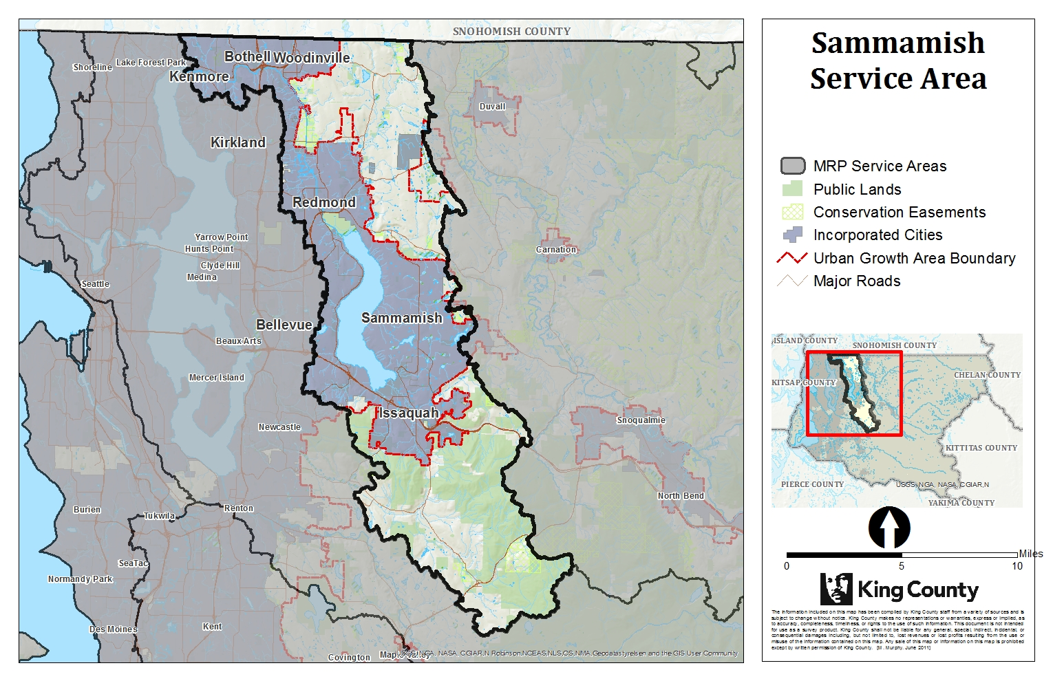 Map of Sammamish Service Area for King County Mitigation Reserves Program