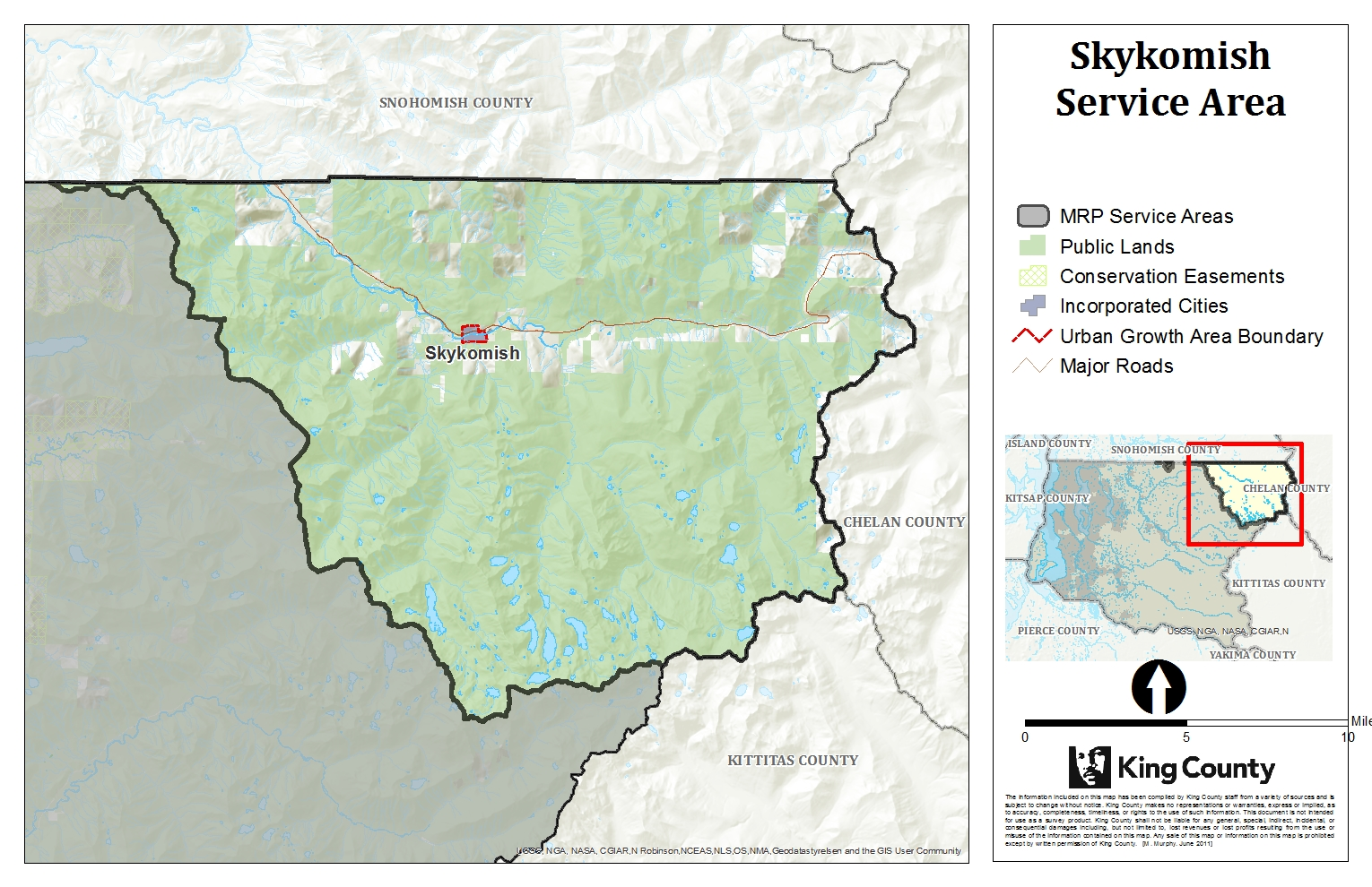 Map of Skykomish Service Area for King County Mitigation Reserves Program