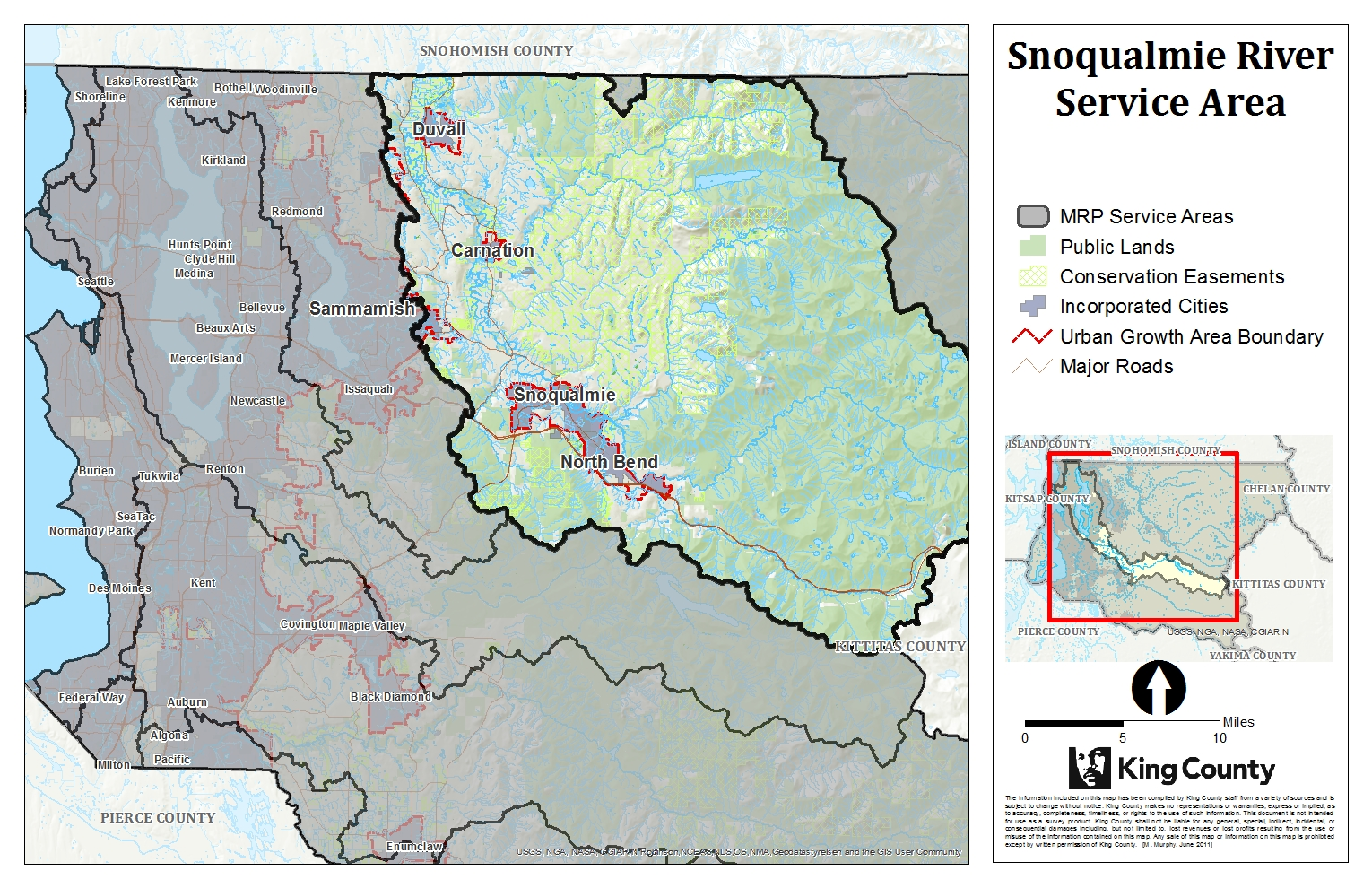 Map of Snoqualmie Service Area for King County Mitigation Reserves Program