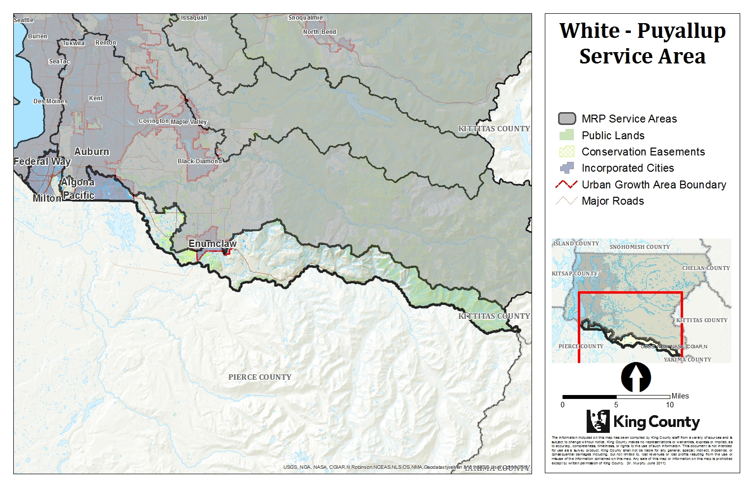 Map of White Puyallup Service Area for King County Mitigation Reserves Program