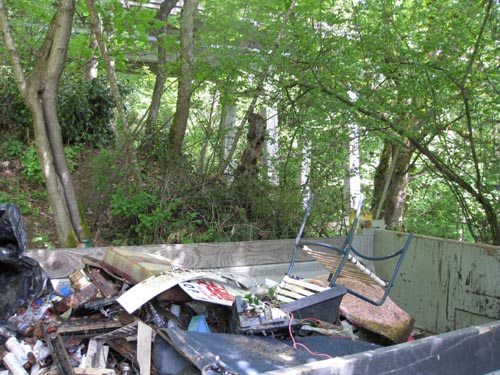 Photo of Dumpster full of garbage with bridge visible through trees in the background