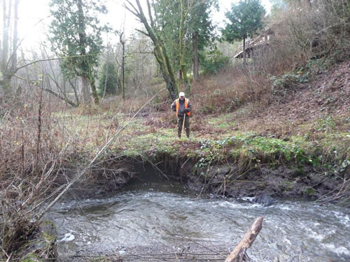 Photo of man standing on top of eroded bank of small stream