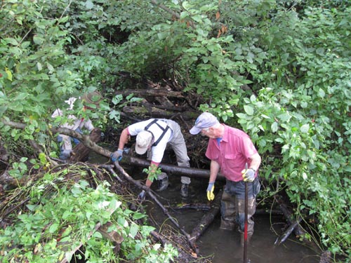 Photo of men removing sticks from stream
