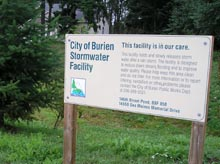 Photo showing sign at Burien stormwater detention pond