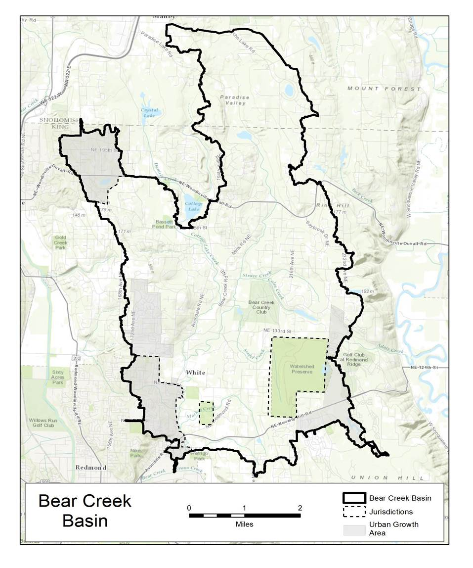 Study area map: Bear Creek watershed stormwater plan