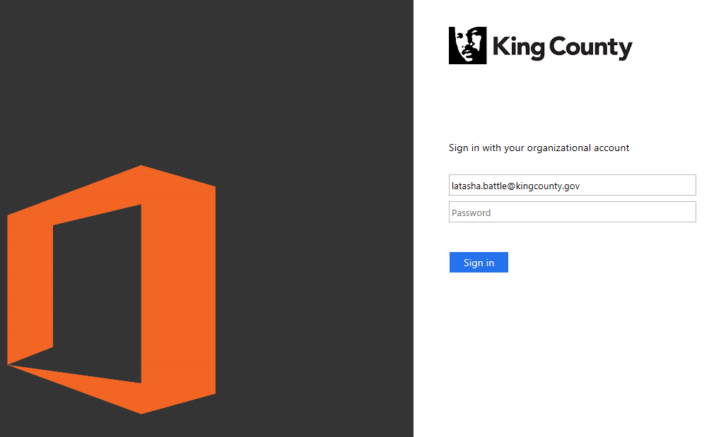 Logging into SharePoint Online - King County