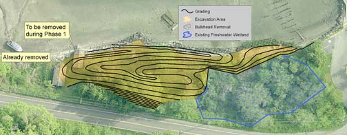 Salt marsh restoration plan map - Dockton shoreline restoration project