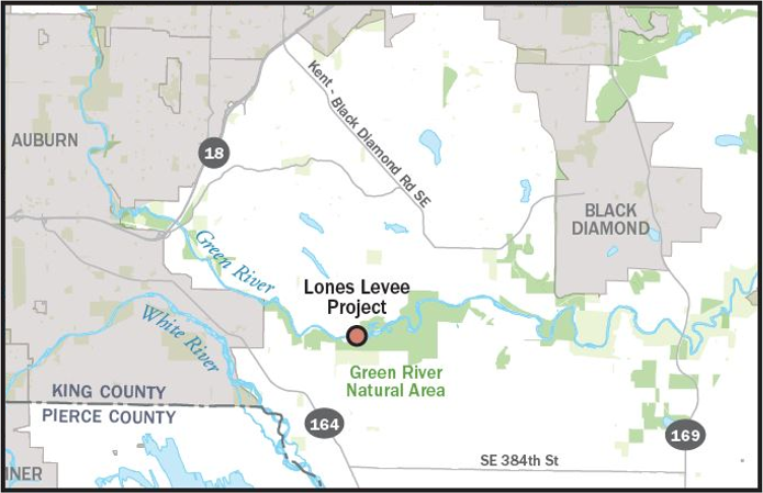 Map of Lones Levee Project location on the Green River