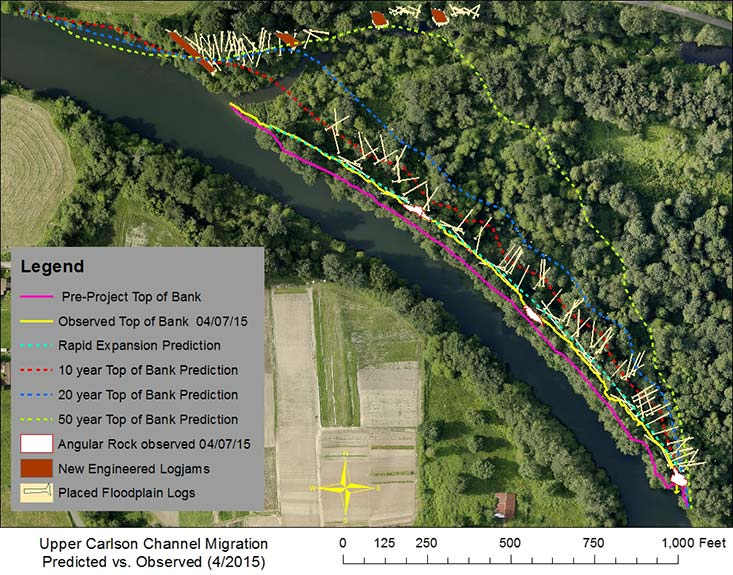 Upper Carlson levee restoration project bank loss aerial photo