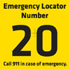 Emergency locator number sign