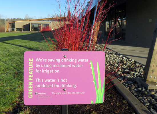 Green feature: we're saving drinking water by using reclaimed water for irrigation.