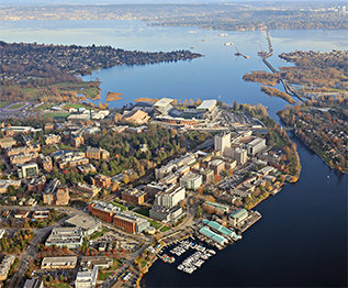 Panorama of University of Washigton, Lake Washington and Montlake Cut