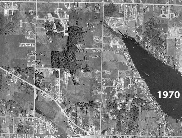 1970 Aerial Photograph of Lake Meridian