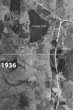 Aerial Photograph of Cottage Lake in 1936