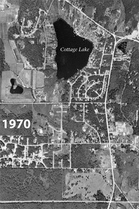 Aerial Photograph of Cottage Lake in 1970
