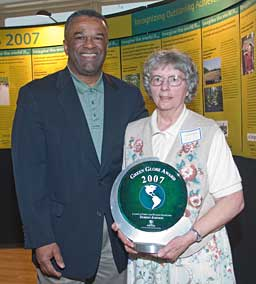 Ron Sims and Doreen Johnson, leader in forest and wildlife protection
