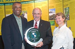 Mark Sollitto, leader in Open Space Conservation is flanked by Ron Sims (left) and Pam Bissonnette (right)