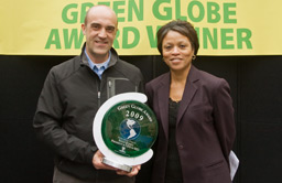 David Javo, REI's Corporate Giving Program Manager - accepts the Environmental Catalyst Award on behalf of Sally Jewell