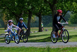 Family biking outdoors