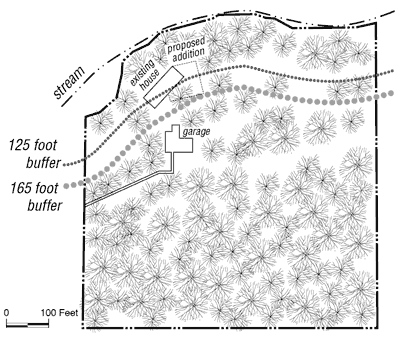 sample site plan for wooded site with house in stream buffer