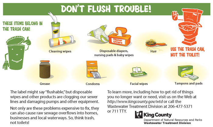 Don't flush trouble. List of items that belong in the trash can and not the toilet.