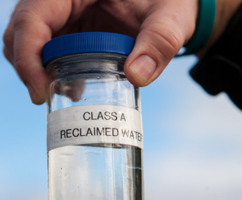recycled water in a glass jar