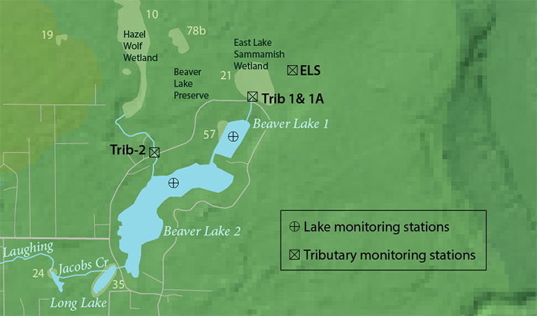 Beaver Lake map of water quality monitoring stations