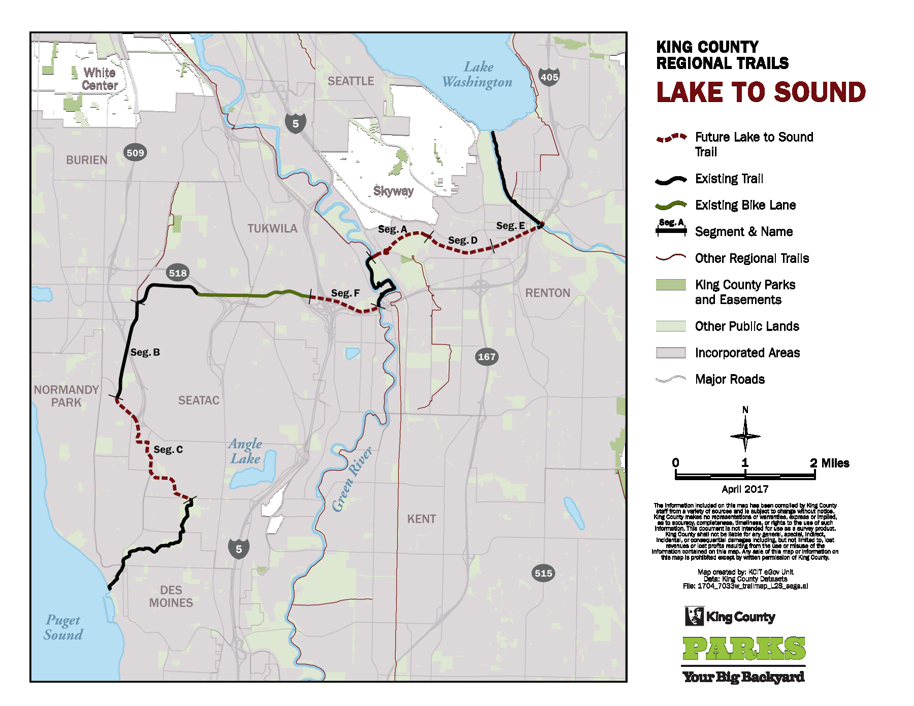 Lake to Sound Trail - King County Des Moines Bike Trails Map on