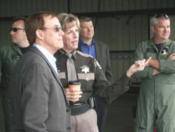 "King County Councilmember Pete von Reichbauer discusses with King County Sheriff Sue Rahr the important role the new ""Guardian One"" helicopter will play in keeping our region safe."