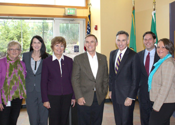 Pictured left to right: Acting Director of Public Health Patty Hayes, Federal Way Councilmember Kelly Maloney, Federal Way Deputy Mayor Jeanne Burbidge, King County Councilmember Pete von Reichbauer, King County Executive Dow Constantine, Federal Way Mayor Jim Ferrell, and Public Health area manager Karen Russell
