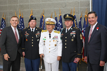 King County Councilmember Pete von Reichbauer, US Army Staff Sargent Brent Workman, General Nam Pyo Park (Ret) ROK Army, US Army First Sargent Robert Tetu, Doug Richardson (Retired) Brigadier General Army Reserve.