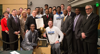 King County Councilmember Pete von Reichbauer recognizes Coach Collins and WIAA 4A Boys State Champion Basketball Team, Federal Way High School Eagles.